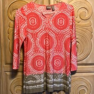 Chico's peach and grey print long sleeve top med